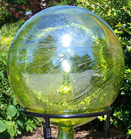 "Glass Gazing Ball ""Lemon Yellow"" 12 Inch Iridized"