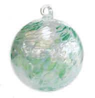 Mint Green Jade White Twist Iridized  4 Inch