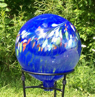 "Glass Gazing Ball ""Circus Blue"" 12 Inch"