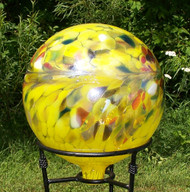 "Glass Gazing Ball ""Circus Yellow"" 12 Inch Iridized"