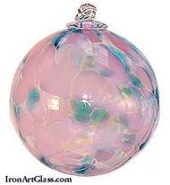 Aqua, White & Pink 4 Inch Kugel