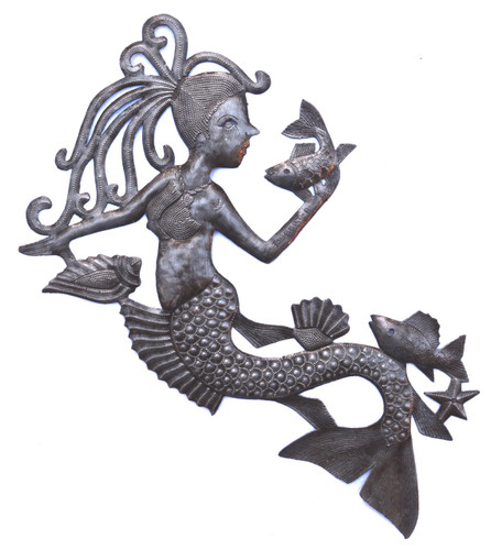 Mermaid talking to a fish. wall art