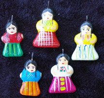 Girls, Hand Painted Clay Charms, Beads Guatemala
