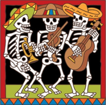 Day of the Dead Tile  Musical Skeletons