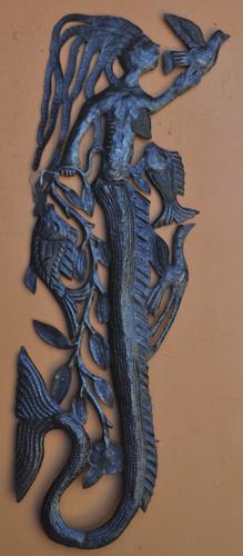Tall Mermaid Wall Sea life, Haitian Metal Art