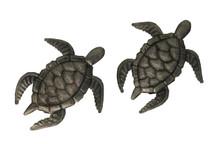 "Sea Turtles, (set of 2), Handmade in Haiti 6.5"" X 7"""