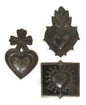 Beautiful Milagro Hearts (set of 3) Handmade charms from Haiti, 6""