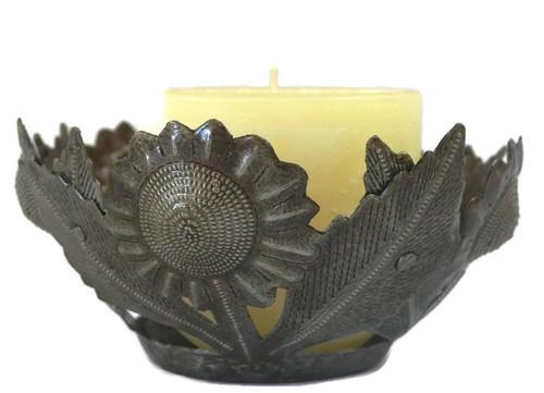 Candle Holder Sunflower Design Haiti Metal Decor