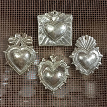 Milagro Heart, Set of 4,Haitian Metal , Recycled Art, Spring collection Mothers Day gift