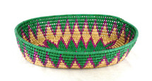 "Toluca Basket Oval Green, Pink, and Tan 9.75"" x 13.75"" x 3"""
