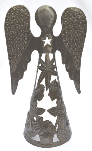 unique angel nativity can be used with a candle - Unique Haiti metal Art Nativity with an Angel