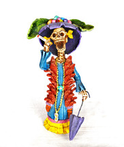 "Jose Juan Catrina Handmade  Clay Sculpture 4"" x 10"""