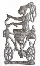 Metal Art Haiti - Girl Riding to Market on a bike