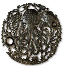 """Octopus Ocean Wall Art, Haitian Recycled Steel Sculpture, 23"""" X 23"""","""