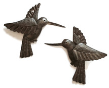 "Hummingbirds, Haitian Recycled Metal Drum Wall Art (set of 2) 6"" x 5.5"", Garden Patio Yard Art"