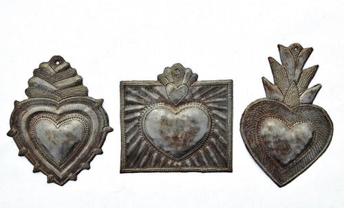 milagro hearts, set of 3, handmade in Haiti