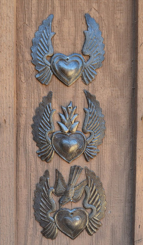 "Heart with Wings, Flaming Heart, Flying Heart, (Set of 3) 5"" x 5.25"""