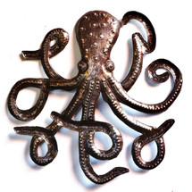 "Octopus Steel, Metal Sea Wall Art, Recycled, Ocean Marine 22.5"" X 23"", Ocean theme room decor"