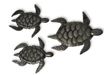 Sea Turtles Haitian Metal Wall Art, Facing Right, Set of 3