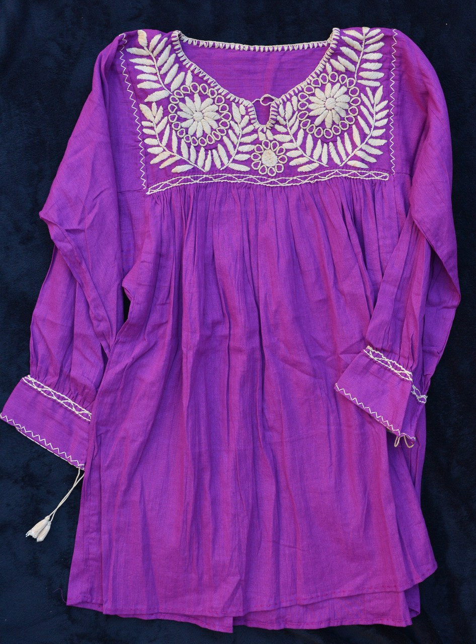 Hand Embroidered Puebla Blouse Traditional Mexican Dress It S Cactus
