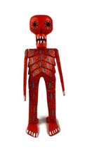 "Hand Carved Skeleton, Day of the Dead, Halloween Decoration 5"" x 15"""