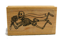 Bride Skeleton Day of the Dead Rubber Stamp 3""