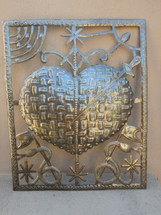 "Erzulie Dantor, Defender of Women and Children, Sacred Heart Made from Recycled Steel Barrel in Haiti 17"" x 20 3/4"""