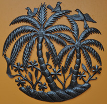 Palm trees and Birds - Haiti Metal Garden Art