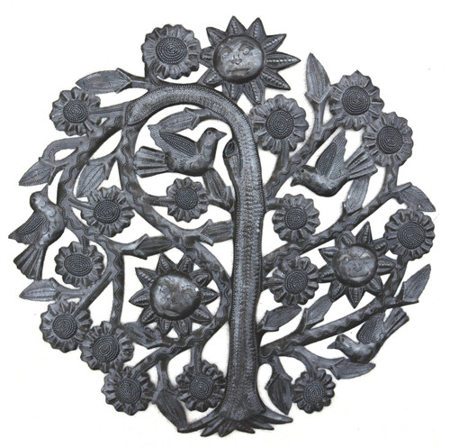 haiti metal art, tree of life, recycled steel