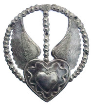 devotional heart, rosary with milagro heart, haiti metal