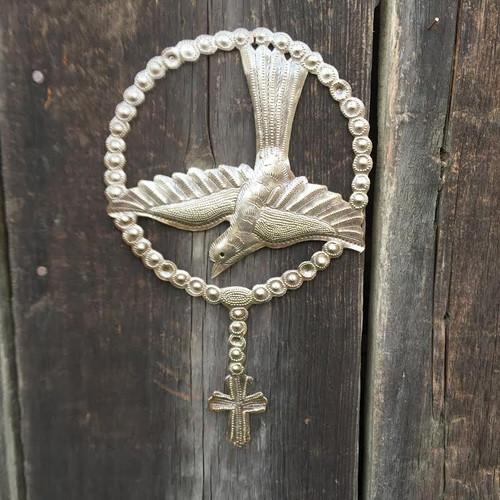 Religious bird with cross, Rosary , handmade in Haiti