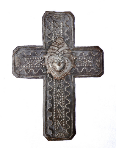 religious cross with milagro heart, Handmade in Haiti
