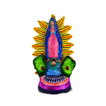 virgin mary, small candle holder, mexican pottery