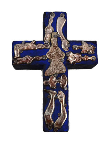 wooden cross with milagro charms