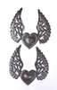 Set of 2 hearts with wings