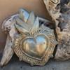 "Flaming Heart, Handmade in Haiti, Inspirational Wall Decor 7"" x 9"""