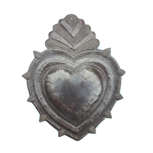 "Rustic Flaming Milagro Heart, Charming Inspirational Wall Decor, Handmade in Haiti from recycled oil drums 8"" x 11.5"""