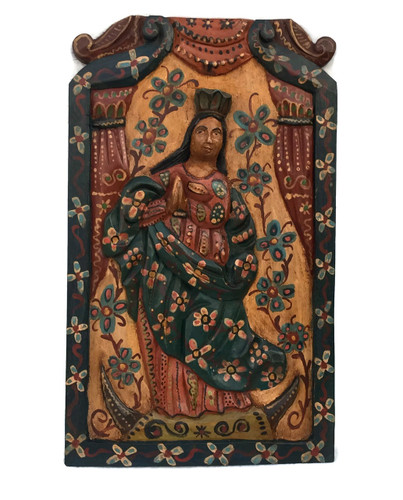 """Virgin Mary Religious Hand Carved Solid Wood Accent Panel, Wall Art 11.5"""" x 19.25"""""""