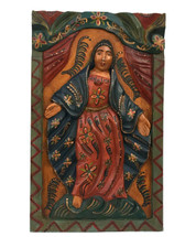 "Virgin Mary Hand Carved Solid Wood Decorative Panel, Wall Art 11.5"" x 19.25"""