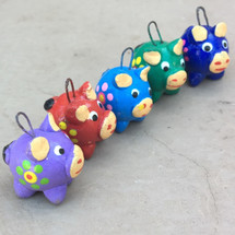 Pigs Bright hand painted and hand sculpted clay beads from Guatemala