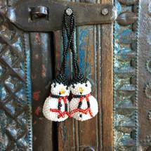 Snowman Ornament, hand beaded Christmas Ornaments Snowmen Guatemala