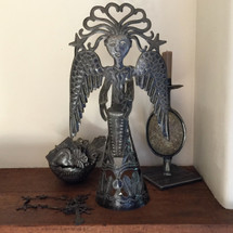 Standing Metal Angel Playing a Drum Made from Recycled Steel in Haiti Fair Trade Project