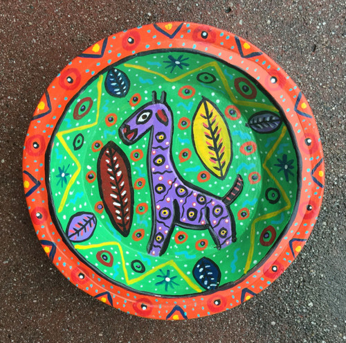 Animal bowl brightly painted in Guatemala