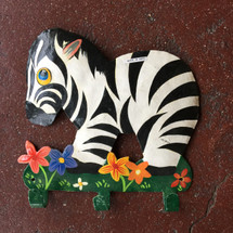 Hand painted Zebra wall hook