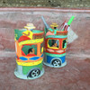 whimsical hand made pencil holder from fair trade project Haiti