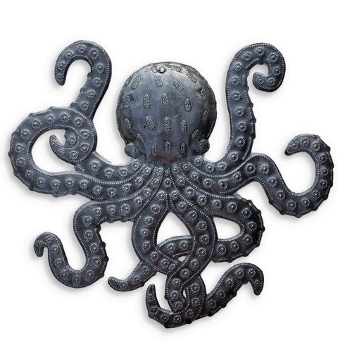 "Artistic Metal Octopus, Sealife Wall Hanging Decor, Ocean Themed Artwork 14""x 15"""