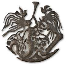 Mermaids Playing Trumpet, Birds, Sea Life, Nautical Creatures, Haitian Metal, Recycled Steel, Free Trade