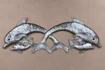 "Jumping Dolphins, Sealife Beach Home Decor, Haitian Craftsmanship 8"" x 22"""