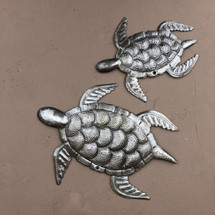 "Sea Turtles, Ocean theme sea life, for indoor or outdoor, handcrafted in Haiti 7.5"",10"""