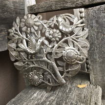 Heart with Floral and Organic Life, Artistic metal sculpture, Handmade in Haiti 11 inch